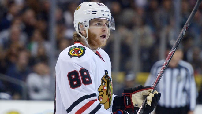 Chicago Blackhawks right wing Patrick Kane has no goals and one assist in the first four games of the Western Conference Final.