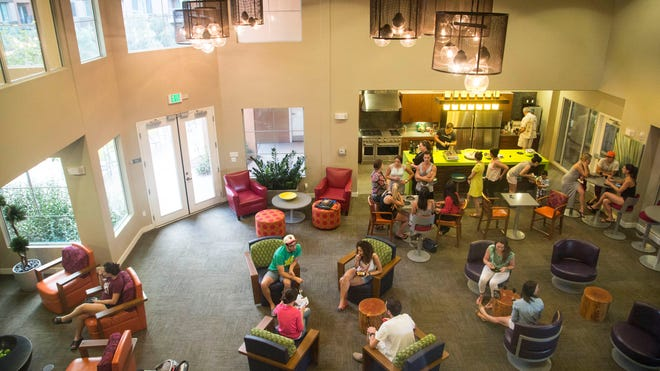 New residents at SkySong Apartments meet and mingle. The complex was the first to hit the market at the ASU Scottsdale Innovation Center.