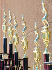 Trophies await their presentation to the winners of