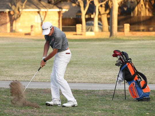 San Angelo Central High School senior Jansen Smith hits an approach shot during the second round of the San Angelo Boys Golf Classic at Bentwood Country Club on Friday, March 9, 2018.