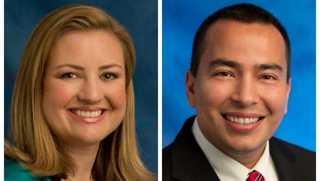 Phoenix City Council members Kate Gallego (left) and Daniel Valenzuela.