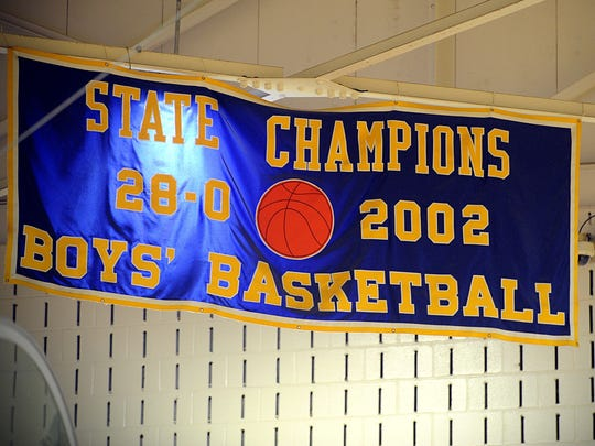 Wi-Hi's 2002 state championship banner hangs alone