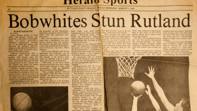 The Rutland Herald sports page from March 1, 1985, the day after No. 16 BFA-St. Albans stunned top-seeded Rutland 56-49.