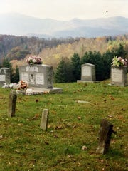 Kona Baptist Church Cemetery in Mitchell County, photographed by Sharyn McCrumb.
