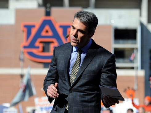 Nov 30, 2013; Auburn, AL, USA; ESPN broadcaster Chris Fowler on the set of College Gameday prior to the game between the Auburn Tigers and the Alabama Crimson Tide at Jordan Hare Stadium. Mandatory Credit: Shanna Lockwood-USA TODAY Sports ORG XMIT: U