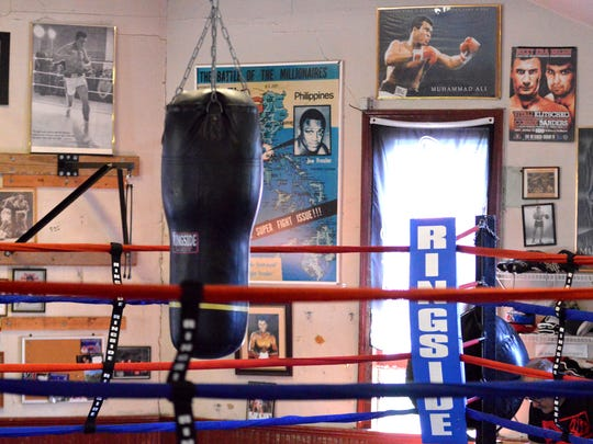 Muhammad Ali posters and pictures hang on the walls of the Staunton Boxing Club. Muhammad Ali posters and pictures hang on the walls of the Staunton Boxing Club.