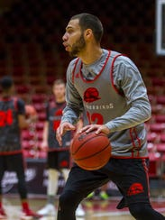Southern Utah guard Jadon Cohee (12) practices with