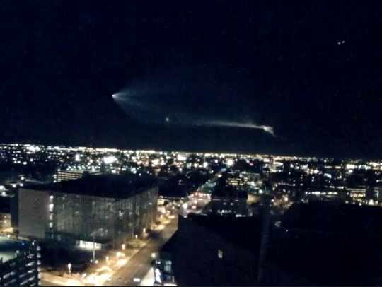 A view of the SpaceX rocket launch from a City of Phoenix