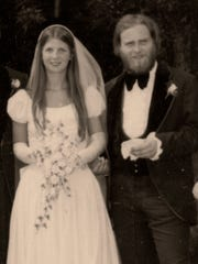 Joanne Chappell Seeley and her husband, Richard, on their wedding day, Aug. 2, 1975. Joanne is wearing the same wedding dress that her mother, Jean Wydysh Chappell, wore on her wedding day.