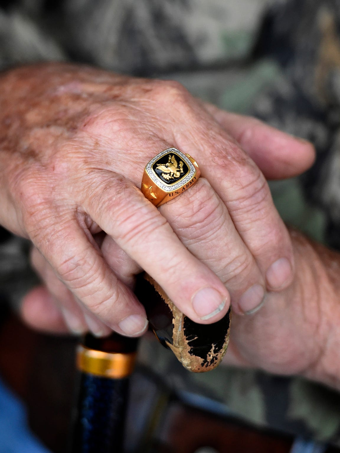 Korean War veteran Vince Bentz, of Annville, wears a ring commemorating his Army career.