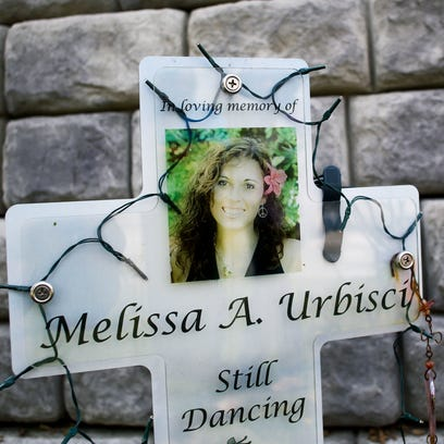 Melissa Urbisci's memorial at the intersection of Harrison