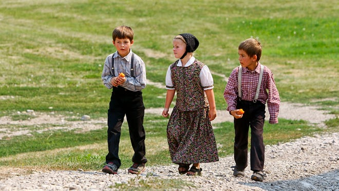 Dylan, Savannah and William Hofer are among the children of King Ranch Hutterite Colony.