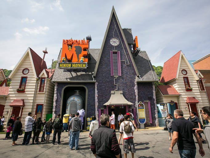 The entrance to the Despicable Me Minion Mayhem ride in Universal Studios Hollywood at Universal City, Calif.