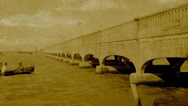 The first causeway across Nueces Bay was built in 1915 over the old reef that had been used as an underwater passageway since the early 1840s. This first causeway was opened to traffic in January 1916 and lasted until it was destroyed by the 1919 hurricane. Photo by Karl Swafford.
