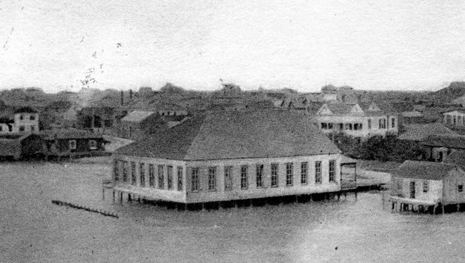 The Ladies Pavilion was built off Water Street between the end of Peoples and Schatzel streets. It opened on Aug. 7, 1903, and quickly supplanted the old Market Hall as the town's social center. It was destroyed by the 1916 hurricane.