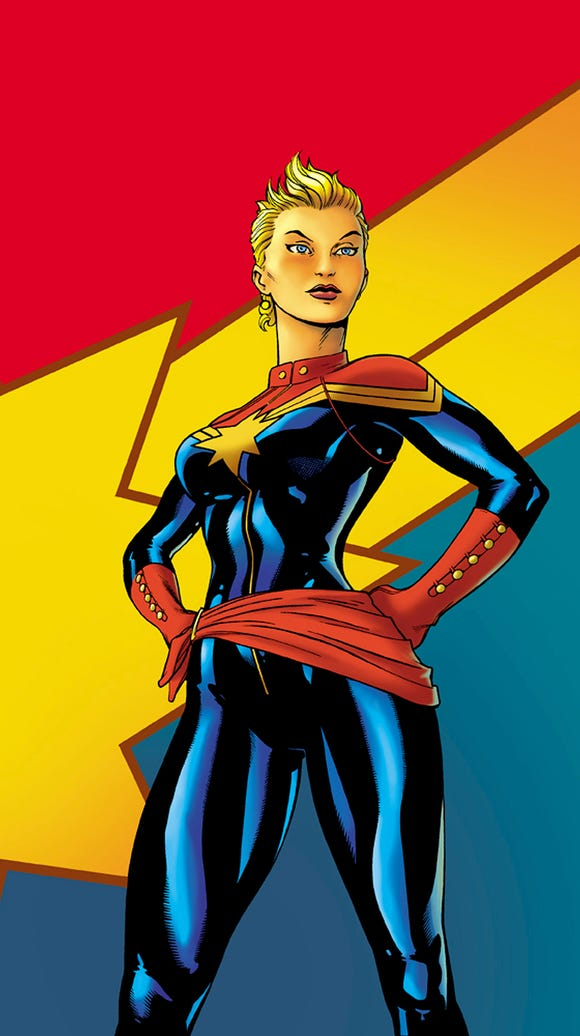 Captain Marvel in her red and blue comic glory.