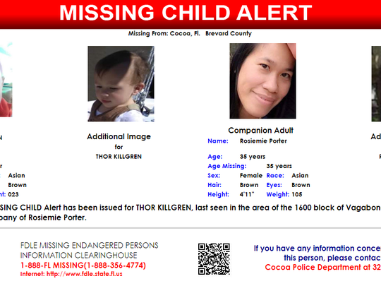 One-year-old Thor Killgren was reported missing from