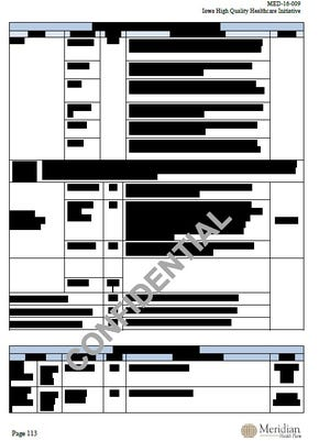 Hundreds of pages, like this one in Meridian's public bid proposal, were initially redacted from public view.