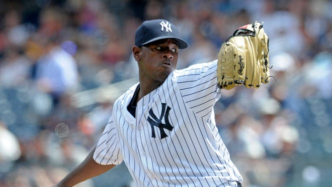 New York Yankees pitcher Luis Severino delivers the ball to the Tampa Bay Rays during the third inning of a baseball game Sunday, Aug.14, 2016, at Yankee Stadium in New York.