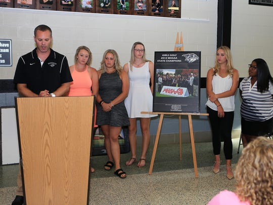 Plymouth athletic director Kyle Meteyer introduces