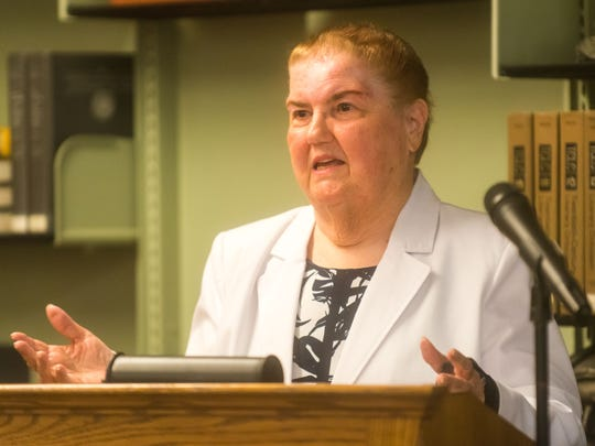 Wall of Warriors honoree Maxine Mulligan speaks during the Sixth Annual Vineland High School Staff Recognition Ceremony at Vineland High School on Wednesday, May 31.