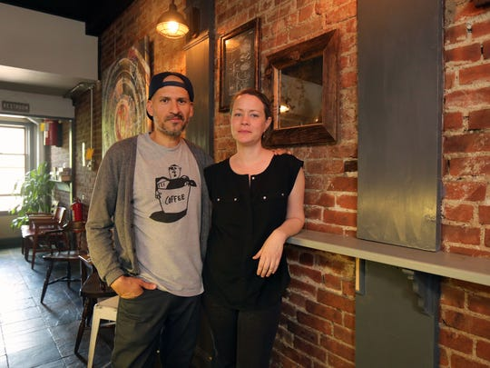 Owners Luis and Kathryn Corena at First Village Coffee at 123 Main Street in Ossining, May. 12, 2017.