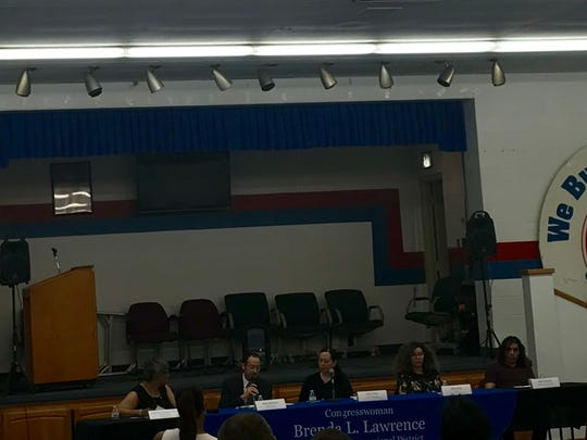 U.S. Brenda Lawrence (D-Southfield) (on far left on table) hosted a town hall forum on immigration on June 18, 2018, at UAW Local 22 hall in Detroit on Michigan Ave. Also speaking was Ruby Robinson, attorney with Michigan Immigrant Rights Centers, DACA recipient Juan Gonzalez, and advocates with the ACLU and Arab American Civil Rights League.