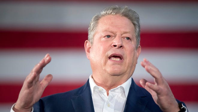 Former Vice President Al Gore speaks at a rally for Democratic presidential candidate Hillary Clinton at Miami Dade College in Miami, Tuesday, Oct. 11, 2016.