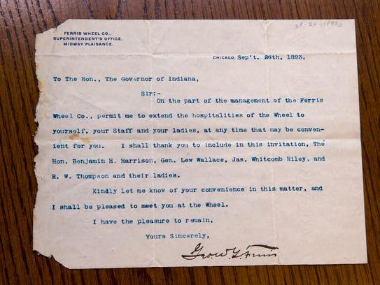 An 1893 invtation by George Washington Gale Ferris