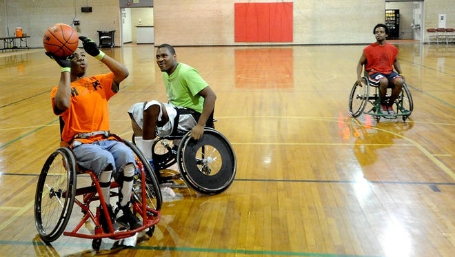 Charlie Speed, of Shreveport, runs through a drill during wheelchair basketball practice inside the SPAR building at Princess Park in Shreveport. He has been playing for about four years.