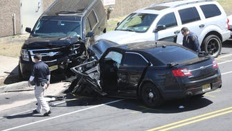 According to an eye witness, who did not want to give their name, a police vehicle was moving at a high rate of speed south east on Getty Ave. in Paterson Sunday morning.  The witness stated that the vehicle spun out and ended up crashing into another vehicle that was parked on the opposite side of the road.  The witness stated that there were no occupants in the parked vehicle but the driver of the police vehicle was taken away in an ambulance. Sunday, April 22, 2018.