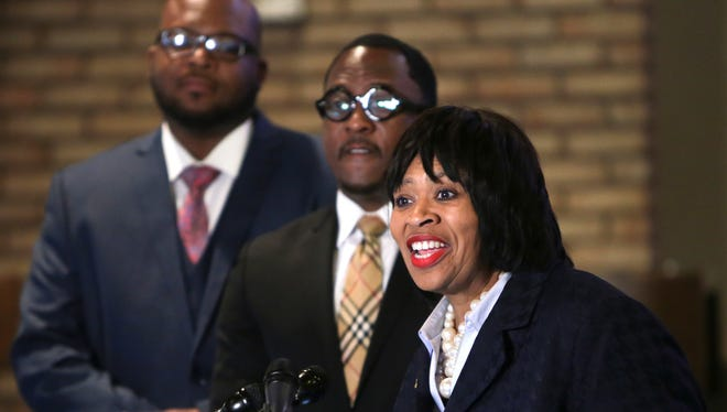 Detroit City Council President Brenda Jones speaks during a press conference for The Detroit Alliance for Fair Auto Insurance at the Salem Memorial Lutheran Church in Detroit on Monday March 27, 2017.