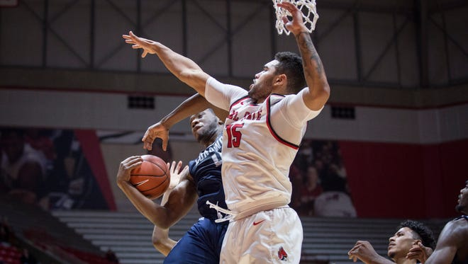 Ball State's Franko House tries to block a shot against Longwood Monday night in Worthen Arena. Ball State won 61-45.