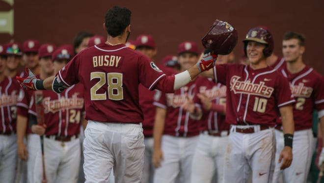 Florida State junior third baseman Dylan Busby (28) selected by the Pittsburgh Pirates in the third round of the 2017 MLB Draft.