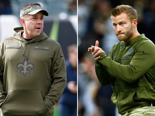 FILE - At left, in a Nov. 11, 2018, file photo, New Orleans Saints head coach Sean Payton walks the field during practice before an NFL football game against the Cincinnati Bengals in Cincinnati. At right, in a Nov. 4, 2018, file photo, Los Angeles Rams head coach Sean McVay walks on the field before an NFL football game against the New Orleans Saints in New Orleans. The Rams and Saints will play in the NFC conference championship on Sunday, Jan. 20, in New Orleans. (AP Photo/File)