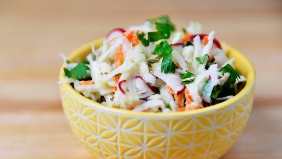 Kohlrabi-turnip-radish slaw, made with vegetables in