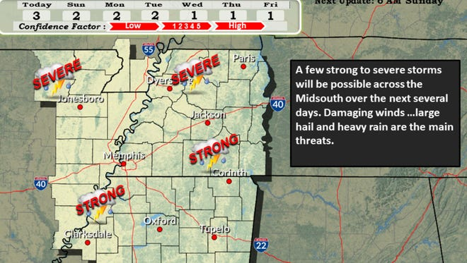 The National Weather Service in Memphis has issued a severe thunderstorm warning for portions of West Tennessee.