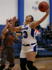 Lake View's Gabby Ramirez goes up for a shot against Lubbock Coronado on Friday.
