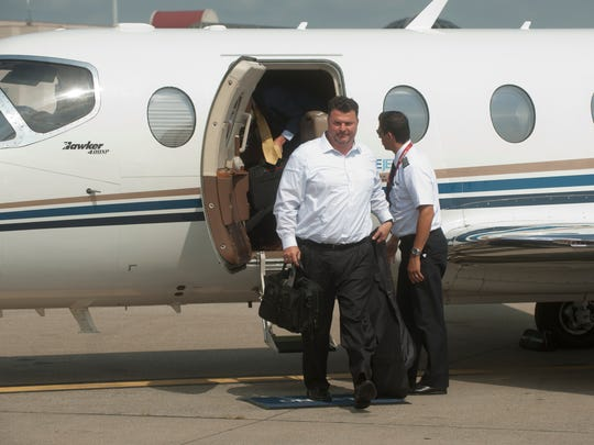 New regional airline company OneJet made its debut in Louisville with its maiden voyage 7-passenger-seat plane arriving at Louisville International Airport from Pittsburg at 11:09am.  First to deplane is, Chris Quimby, of ROI Healthcare in Pittsburgh. 25 July, 2016