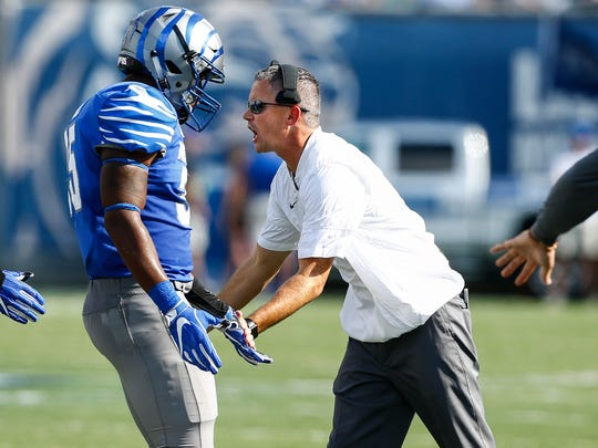 University of Memphis head coach Mike Norvell during action against Navy at Liberty Bowl Memorial Stadium in Memphis, Tenn., Saturday, October 14, 2017.