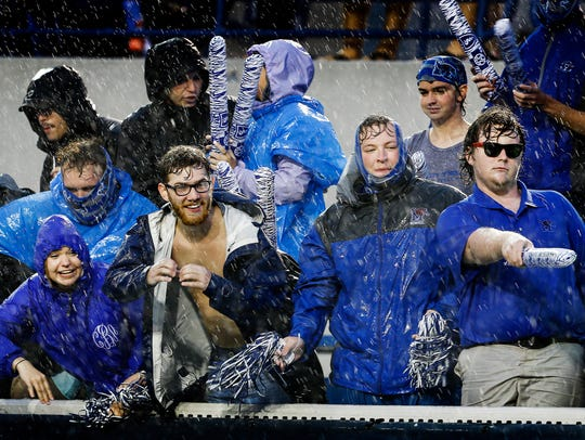 University of Memphis fans brave the heavy rains and