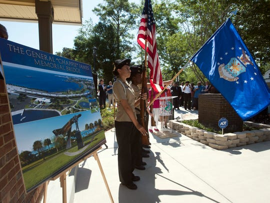 "The Pensacola community comes together to celebrate the grand opening of the Gen. Daniel ""Chappie"" James Jr. Museum and Flight Academy on Thursday. The museum and flight academy is dedicated to honoring James, a Pensacola native and America's first African-America four-star general."