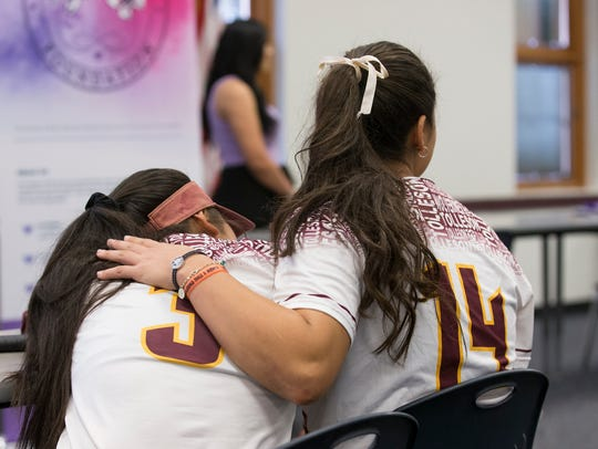 Softball players at Tolleson Union High School listen