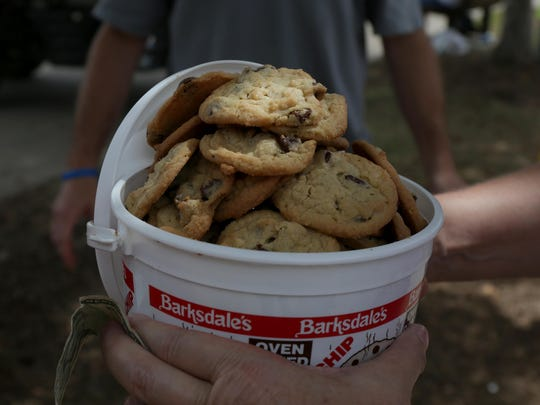 A bucket of chocolate chip cookies during the Iowa