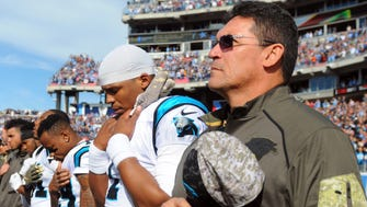 Panthers coach Ron Rivera, right, and QB Cam Newton (1)  are entering their sixth season together.