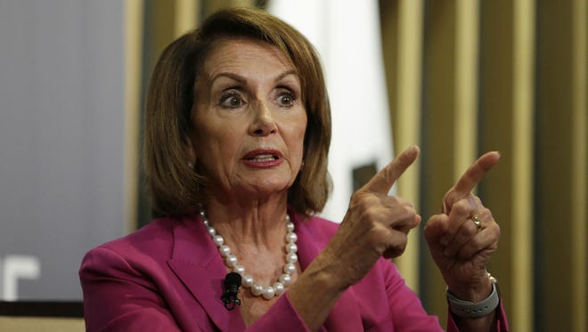 House Minority Leader Nancy Pelosi gestures while speaking at the Public Policy Institute of California Wednesday, Aug. 22, 2018, in San Francisco.
