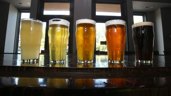 A variety of beers in the tasting room at the Peekskill Brewery.