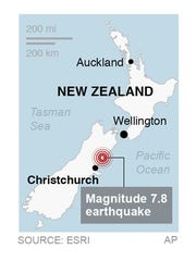 Moves epicenter to north of Christchurch; Map locates