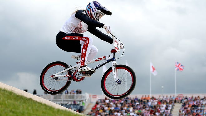Alise Post competes in the women's BMX competition at the 2012 Summer Olympics in London. The 2009 St. Cloud Tech graduate will be back at the Olympics again in Rio de Janeiro.
