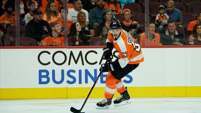 "Shayne Gostisbehere left the preseason finale in the third period with an ""upper-body injury."""